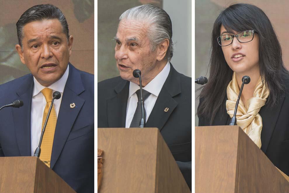 Raúl Contreras Bustamante, Máximo Carvajal Contreras y Adriana Macedo Pérez.