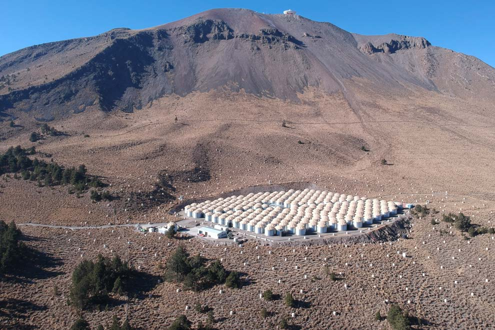Observatorio HAWC de rayos gamma, situado en el volcán Sierra Negra, en Puebla, que capta señales desde el hemisferio norte del planeta